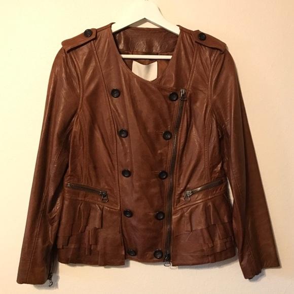 3.1 Phillip Lim Jackets & Blazers - 3.1 Phillip Lim Ruffle Detail Leather Jacket